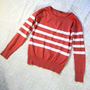 Poof coral & white crew neck striped sweater/ S